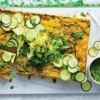Zucchini and polenta slice with broccoli pesto